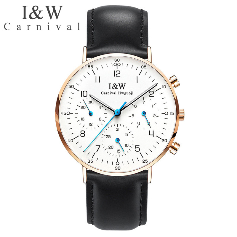 Carnival I&W Ultra-Thin 6MM Quartz Watch Men Leather Strap Waterproof Mens Watches Top Brand Luxury Male Clock relogio masculino ibso genuine leather strap 2017 mens watches top brand luxury 7 6mm ultra thin dial watch men quartz wristwatches male clock