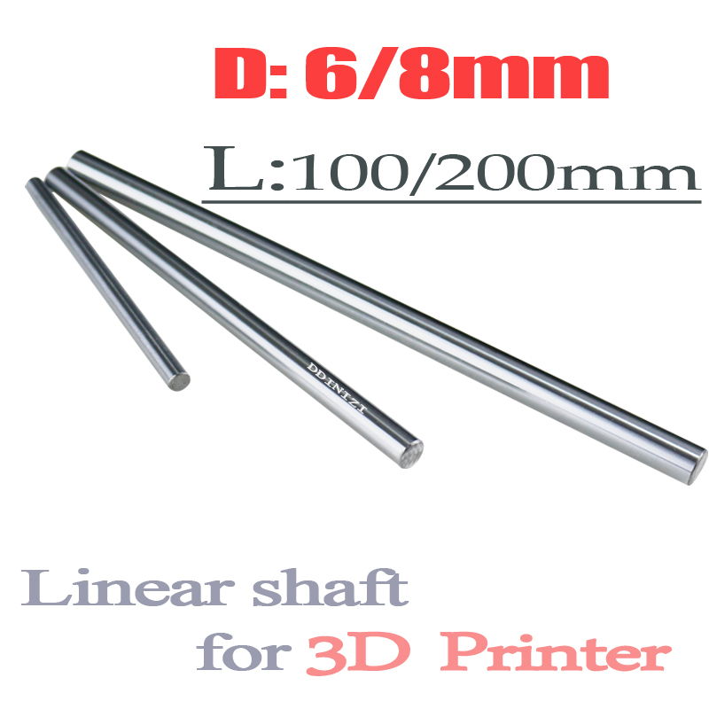 1pc 6mm And 8mm 6x100 6x200 8x100 8x200 Linear Shaft 3d Printer 8mm X 200mm Cylinder Liner Rail Linear Shaft Axis Cnc Parts