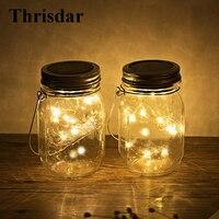 Thrisdar 4pcs Glass Mason Jar Solar Garden Hanging Light With 10Leds Copper Fairy String Outdoor Mason