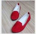 2016 горячее надувательство весной и осенью женщин красные туфли на плоской подошве конфеты цвет Беременных женщин обувь 35-42 #