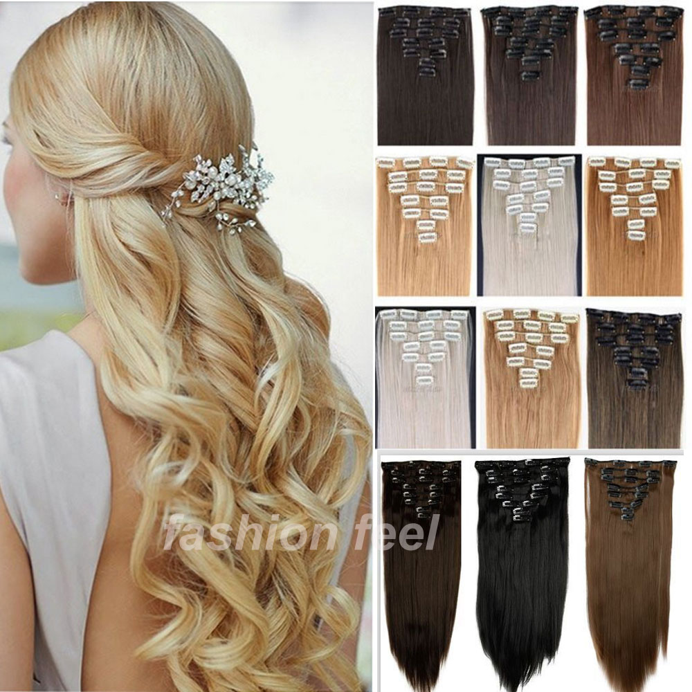 Local warehouse long clip in hair extensions half full head local warehouse long clip in hair extensions half full head synthetic hairpiece straight real thick hair extentions new sale on aliexpress alibaba pmusecretfo Images