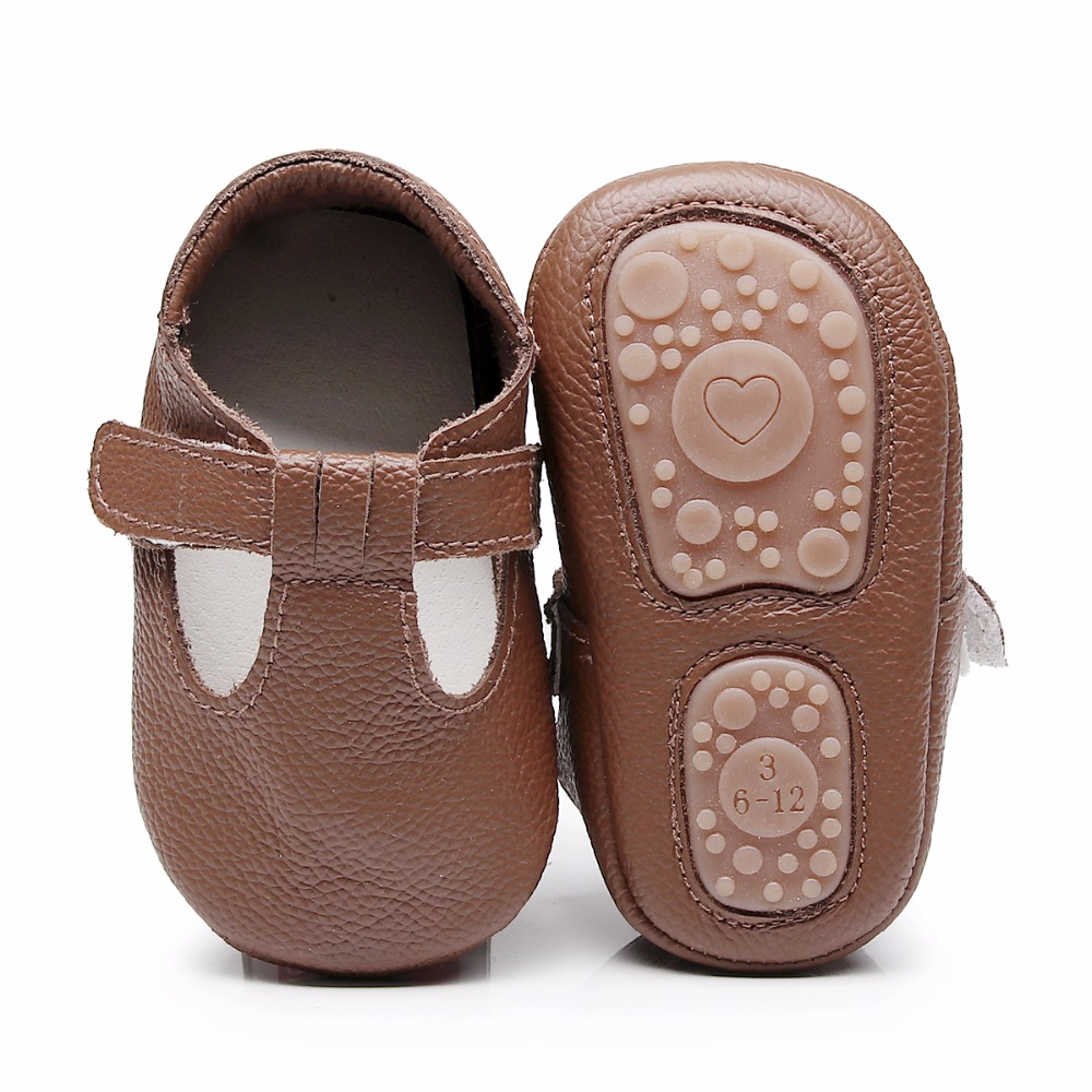 7e5bb1452f6dd US $5.89 30% OFF|2019 hard rubber sole T bar style genuine Leather Baby  Moccasins Shoes Baby Shoes Newborn first walker Infant Shoes-in First  Walkers ...