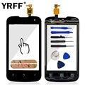Tela sensível ao toque Para FLY IQ246 Substituições de Peças de Reparo Do Telefone IQ 246 Toque de Vidro Do Painel Frontal Preto + Ferramentas Adesivas Logotipo