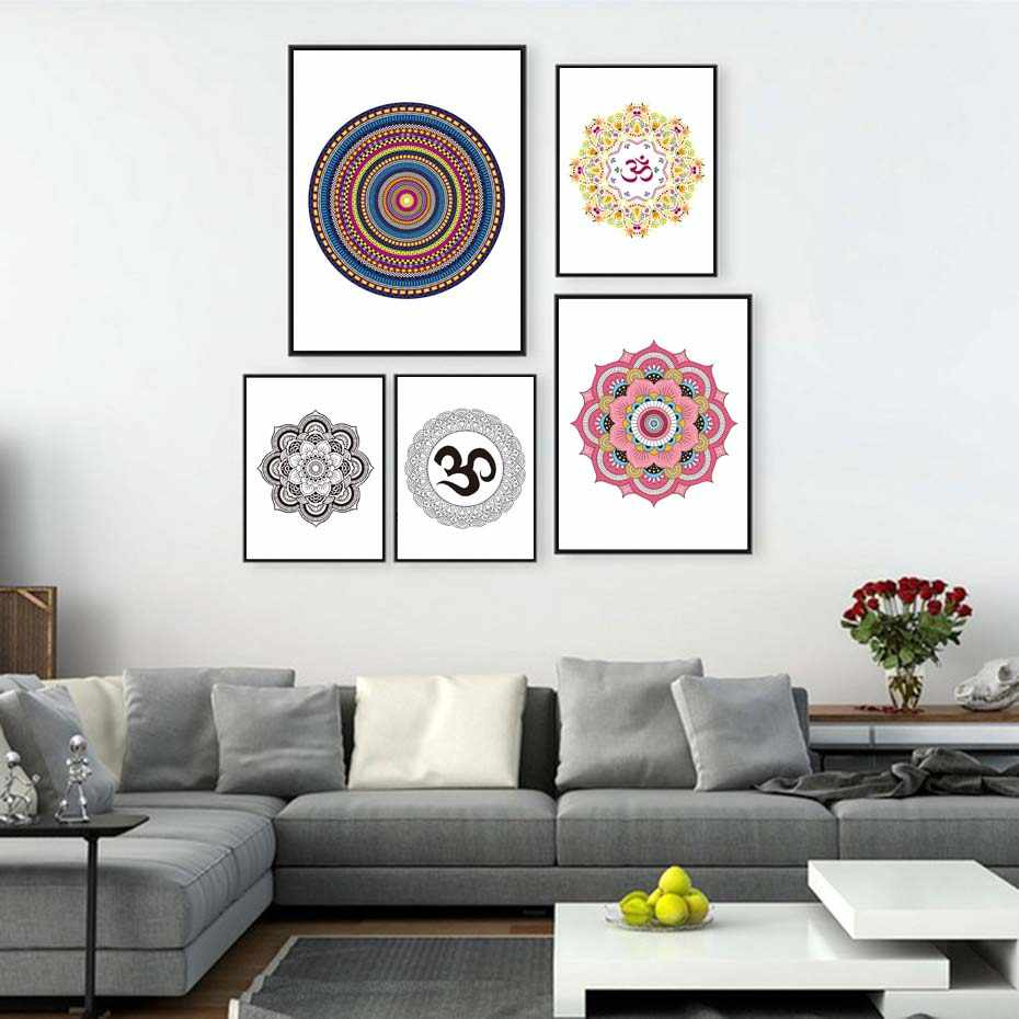 Beautiful Flower Mandala Yoga Canvas Painting Bohemian Style Wall Art Print Poster Watercolor Wall Picture Vintage Home Decor