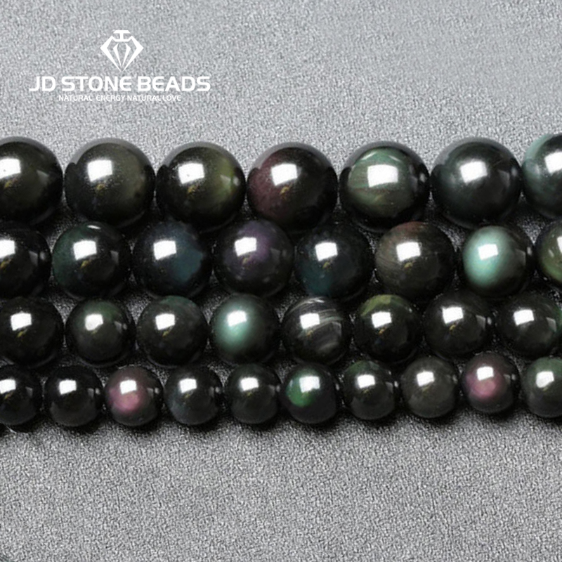 Natural Black Rainbow Obsidian Ice Black Loose Beads 4 6 8 10 12 14 MM Fit Diy Charm Bracelet Beads For Jewelry Making Accessory