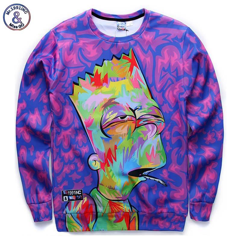 Mr.1991INC Nuovi arrivi uomini/ragazzo del fumetto felpe 3d divertente stampa animazione personaggio hoodies casuali autunno tops