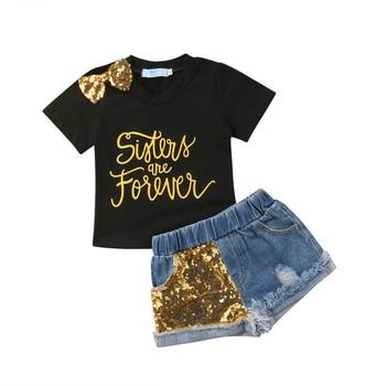 Summer Toddler Kids Baby Girl Letter Print T-shirt Tops+Sequins Denim Shorts Jeans 2PCS Outfits Children Clothing Set 1