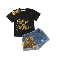 5e73c534f9a99 Bébé d été Enfants Bébé Fille Lettre Imprimer T-shirt Tops + Paillettes  Denim Shorts Jeans 2 PCS Tenues Vêtements Pour Enfants E..