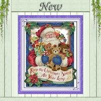 Glücklich Weihnachten  gezählt druck auf leinwand DMC 14CT 11CT Kreuz Stich kits  voll stickerei hand Sets  santa Claus & bear Dekor|Paket|Heim und Garten -