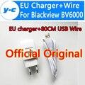 Blackview bv6000 micro usb cable del cargador de la alta calidad 100% original Adaptador Cargador USB de LA UE + 80 CM Cable USB Para Blackview BV6000S