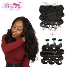 3 Bundles with Frontal Peruvian Body Wave 10A Virgin Hair Weave Nature 1B 100% Human Hair Extension 10 28inch Free Shipping