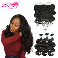 3 bundels met Frontale Peruaanse Body Wave 10A Virgin Haar Weave Natuur 1B 100% Human Hair Extension 10-28inch Gratis Verzending