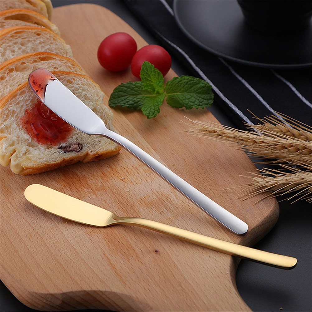 1Pcs Stainless Steel Butter <font><b>Knife</b></font> <font><b>Cheese</b></font> Jam Dessert Crosses Cream Gold <font><b>Black</b></font> <font><b>Knives</b></font> Western Flatware Rose Gold Breakfast Tool image