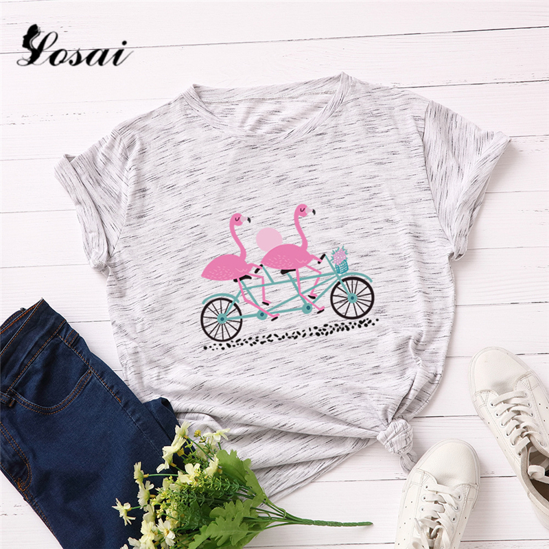 Plus Size 5XL Tropical Flamingo Printed T Shirt Women Cotton Soft Shirts Short Sleeve Summer T-Shirt Tops Pink TShirt Tees