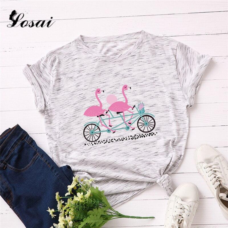 Plus Size 5XL Tropical Flamingo Printed   T     Shirt   Women Cotton Soft   Shirts   Short Sleeve Summer   T  -  Shirt   Tops Pink TShirt Tees