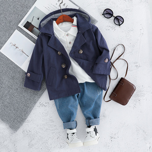 Image 2 - Children Trench Clothing Sets Outerwear & Coats Toddler Boy Girl Autumn Fashion 3PCS Coat + T Shirt + Pants 1 2 3 4 Years