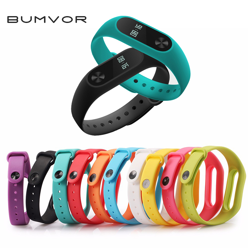 BUMVOR Original  For XIAOMI MI Band 2 Xiao Mi Band2  Colorful Silicone Sport Replaceable Band Wrist Band Strap Bracelet