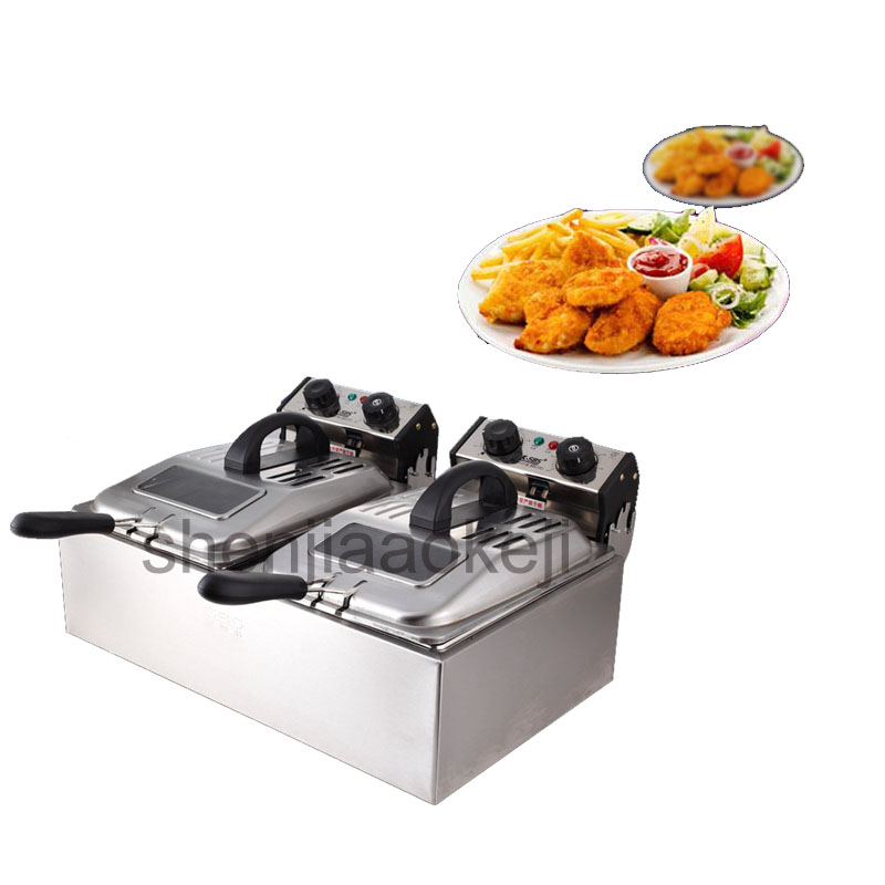2*6L Smoke - free time electric fryer two - cylinder electric fryer commercial large - capacity frying machine 220V 5600W 1PC commercial 5l churro maker machine including 6l fryer
