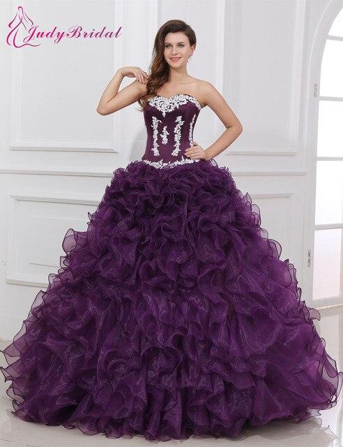 a0d12a98363 2015 New Design Purple Color Quinceanera Dress Ball Gown Sweetheart Appliques  Ruffles vestido de debutante Dress For 15 Years
