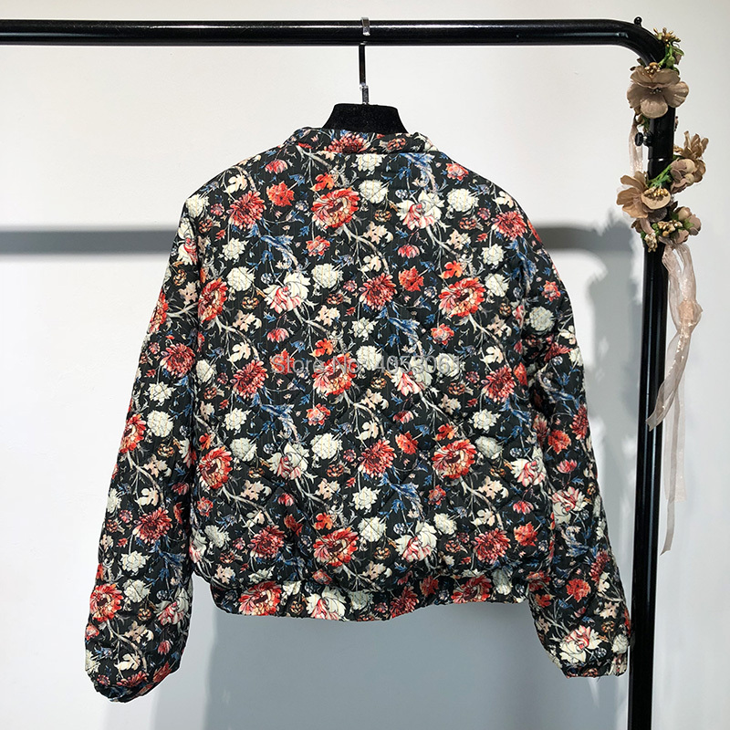 Pockets Features New Printed As up Quilted Sleeves Pic Elasticated 2018 Jacket amp; F Floral Front Zip With Side Women Cuffs Long w Bomber Print qx6C0cwEO