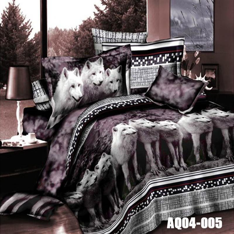 Hot Sale 3D Print Wolf Bedding Sets Queen Size King Size