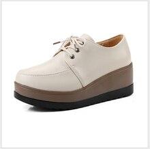 2017 новых женщин способа плоские туфли на платформе из кожи Клинья мягкие Мокасины обувь размер 33-40