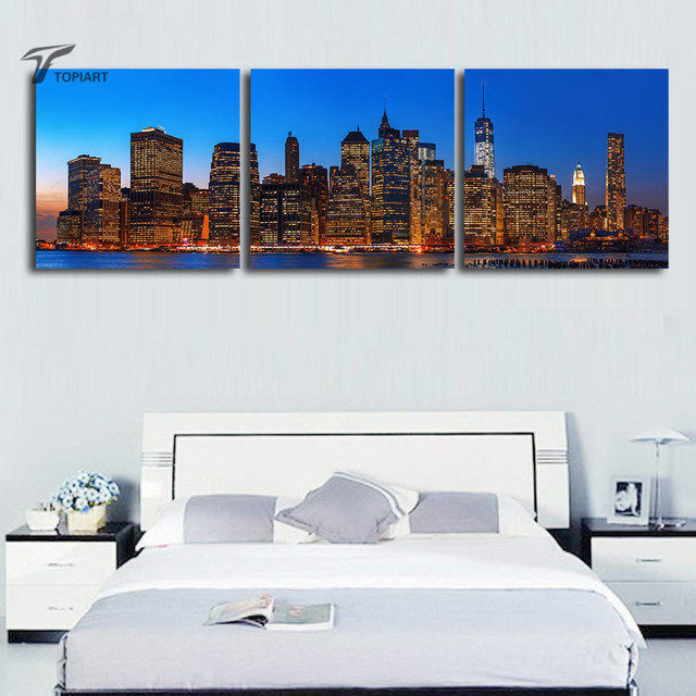 Home Living Decor Canvas Picture 3 Panel Wall Art Panorama Manhattan Night  Cityscape Printed Painting New