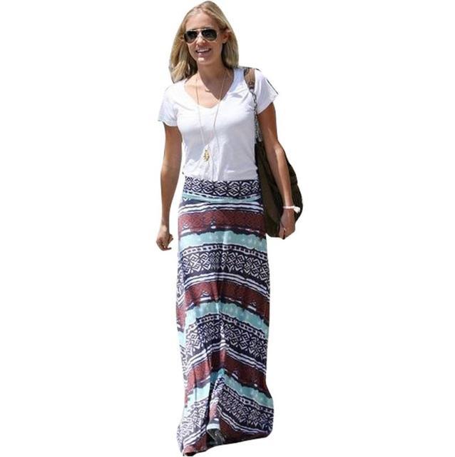 Mujeres falda de Moda de Verano clásico Retro Sexy Geométrica Impresión hasta Los Tobillos de La Vendimia Larga Faldas Plus Size # LSW