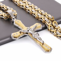 Christan Jesus Cross Crystal Pendant Necklaces 21 65 6mm Thick Link Byzantine Chain Necklcae Stainless Steel