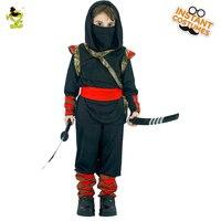 Boys Black Hooded Ninja Costumes Halloween Masquerade Party Assassin Cosplay Kids Japan Warrior Imitation Clothing