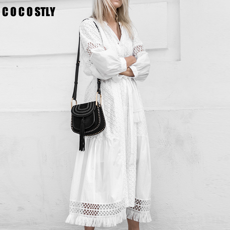 White Lace Up Long Sexy Dress Women Summer V-neck Hollow Out Party Bohemian Long Dress Casual Feminino Dresses Vestidos