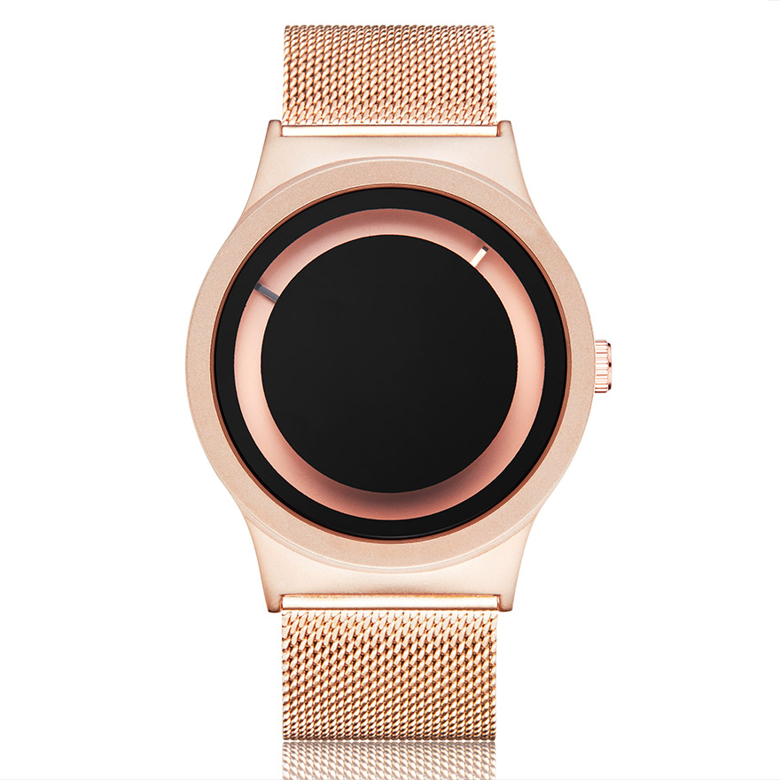 Creative Couple Watch Men Women Personality Minimalist Unique Turntable Dial Watch Casual Steel Black Gold Male Quartz Wristatch