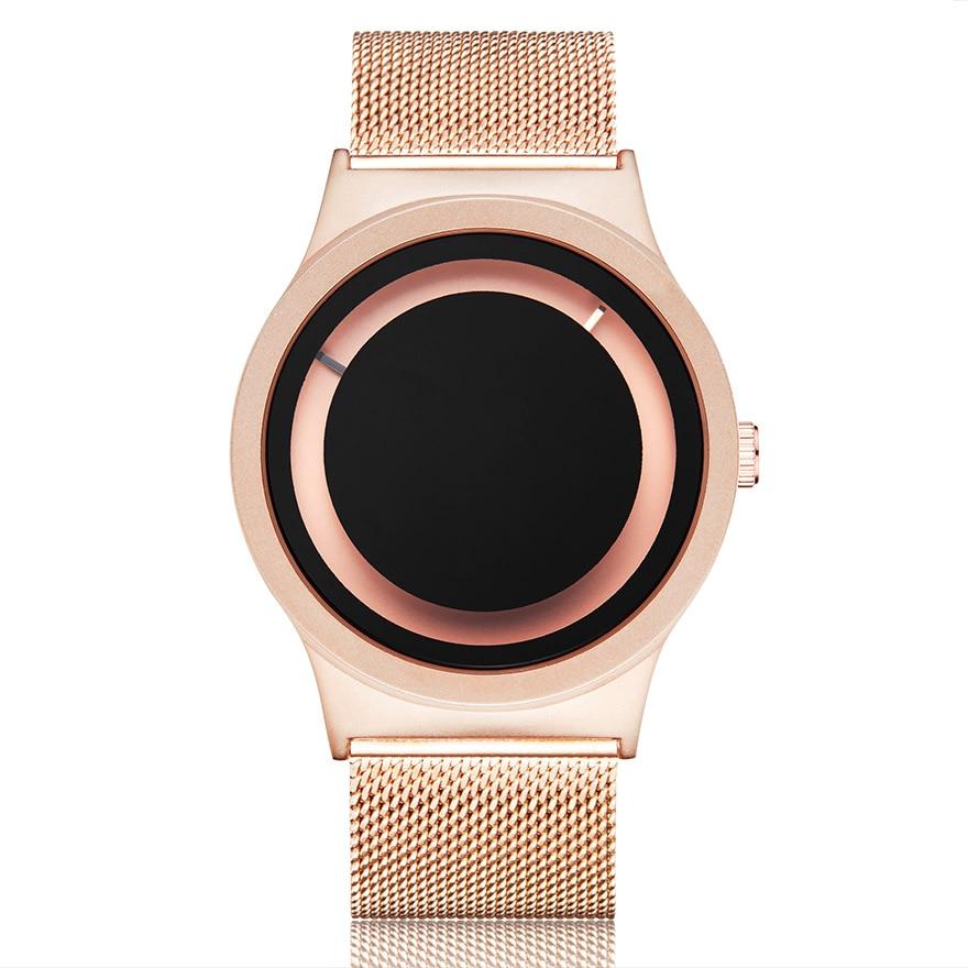 Creative Couple Watch Men Women Personality Minimalist Unique Turntable Dial Watch Casual Steel Black Gold Male Quartz Wristatch