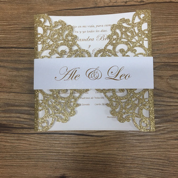 Glitter gold wedding invitation card elegant laser cut cards with personalize printing for wedding favor