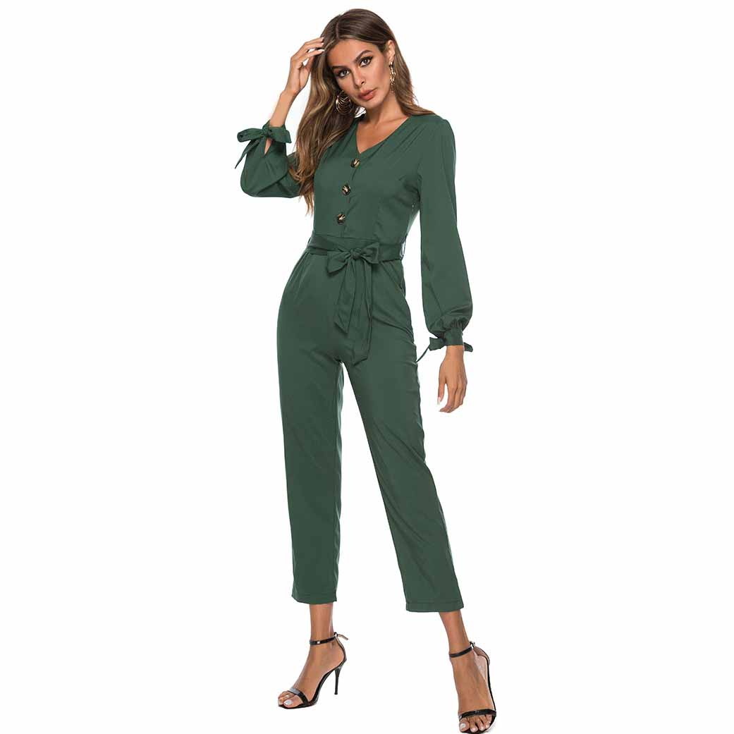 Spring Women Solid Button   Jumpsuit   V Neck Sleeve Tie Office Lady Long Romper Sashes Fashion Long Sleeve Belt Shirt   Jumpsuit
