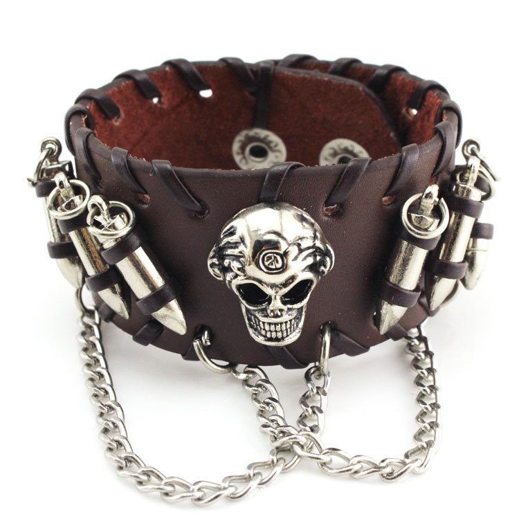 2017 New Fashionable Europe and the United States retro punk jewelry cowhide bracelet bullet skull chain neutral bracelet