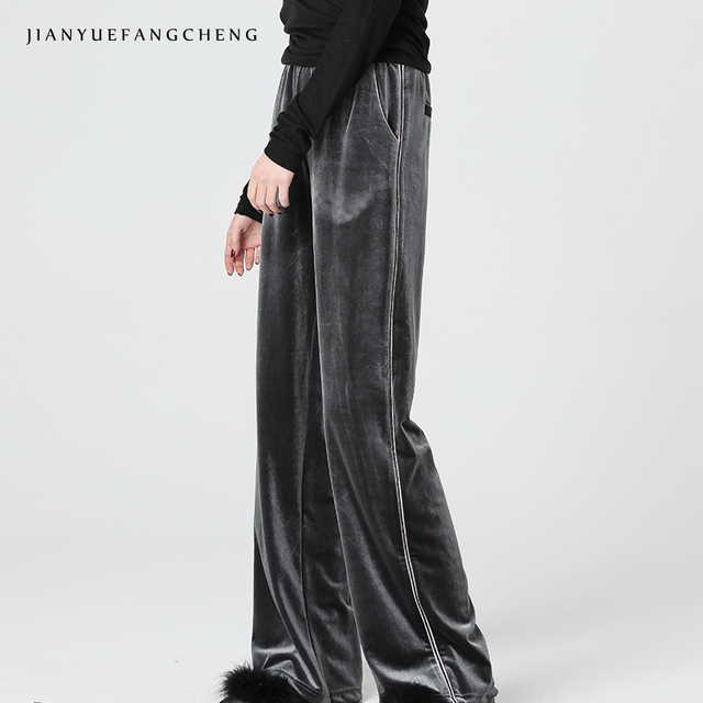 cae70f0f Loose-Fitting Solid Wide Leg Pants Casual Pants Woman Long Velour  Sweatpants Spring Trousers Women Plus Size 2018 High Waisted