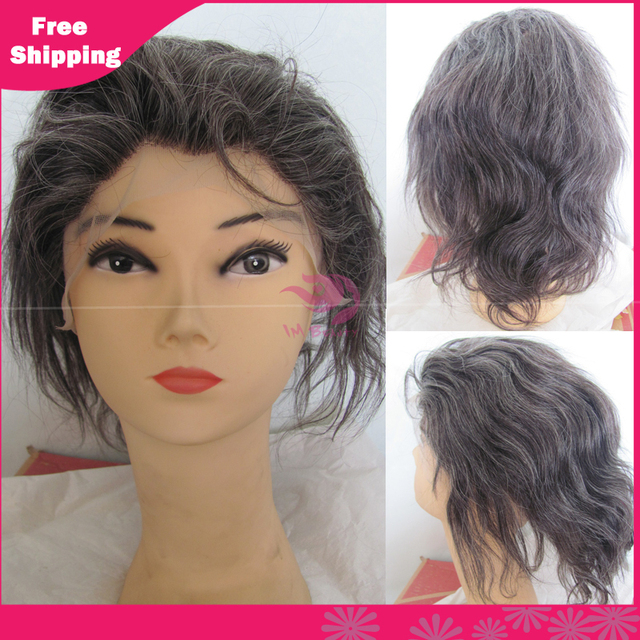 Grey Hair Color Remy Human Hair Full Lace Wigs Straight For Old