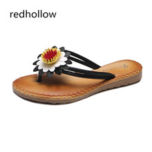 Women Summer Slippers Flat Behemia Flower Slippers Platform Flip Flops Beach Sandals Ladies Slippers Slip On Casual Women Shoes недорого