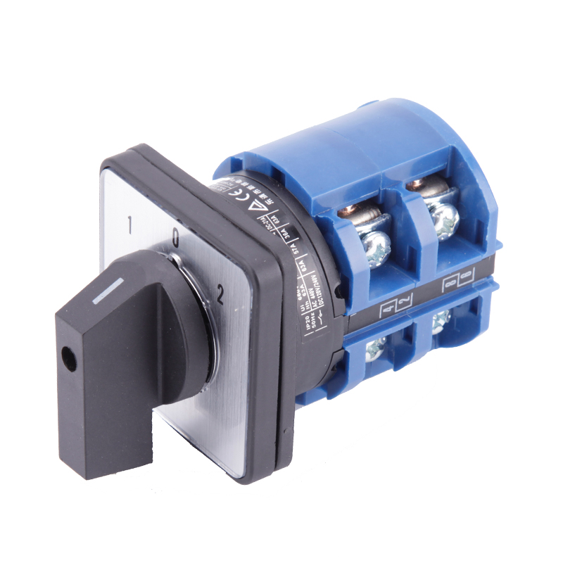 LW26-63/2 High quality dc voltage manual electrical changeover rotary cam switch two poles(phase) sliver point contacts 660v ui 10a ith 8 terminals rotary cam universal changeover combination switch