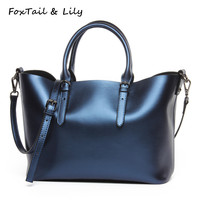 FoxTail Lily Large Capacity Women Casual Tote Shoulder Bag Genuine Leather Handbags Luxury Designer Crossbody Bags