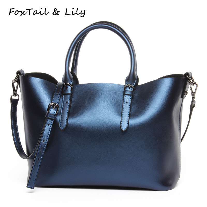 FoxTail & Lily Large Capacity Women Casual Tote Shoulder Bag Genuine Leather Handbags Luxury Designer Crossbody Bags Top Quality foxtail & lily luxury quality ladies leather handbags women shoulder bag famous brand designer large capacity vintage tote bags