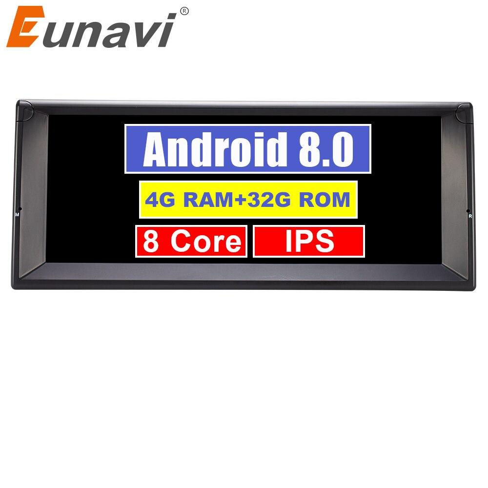 Eunavi 1 Din Núcleo octa Android 8.0 GPS Rádio Sistema De Som Para BMW E39 X5 E53 10.2 ''Multimídia Carro jogador 3G 4G WIFI IPS Tela