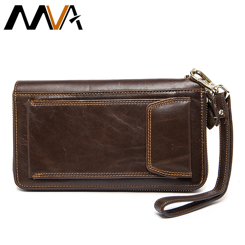 MVA Men Wallets Male Genuine Leather Long Wallet with coin pocket Coin Purse Men Zipper Phone Portomonee Card Holder dalfr men genuine leather wallets cowhide male long wallet vintage hasp style coin purse for men card holder with coin pocket