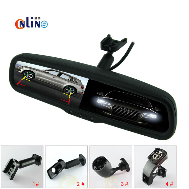 4.3 Auto Dimming Mirror Rearview Mirror Monitor with Original Bracket 2CH Video Input For Parking Monitor Assistance linvel 8170 2 ch mirror