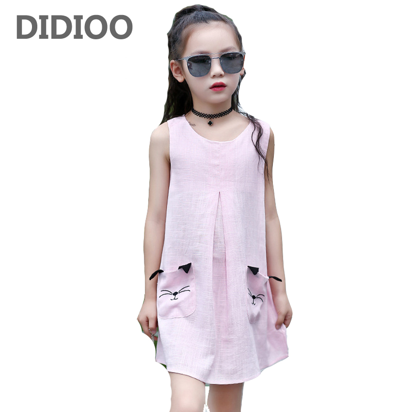 Kids Dresses for Girls Summer Cartoon Cats Dresses for Children Sleeveless Dress 4 8 10 12 Years Girls Sundress Vestido Infantil 6d maxliner