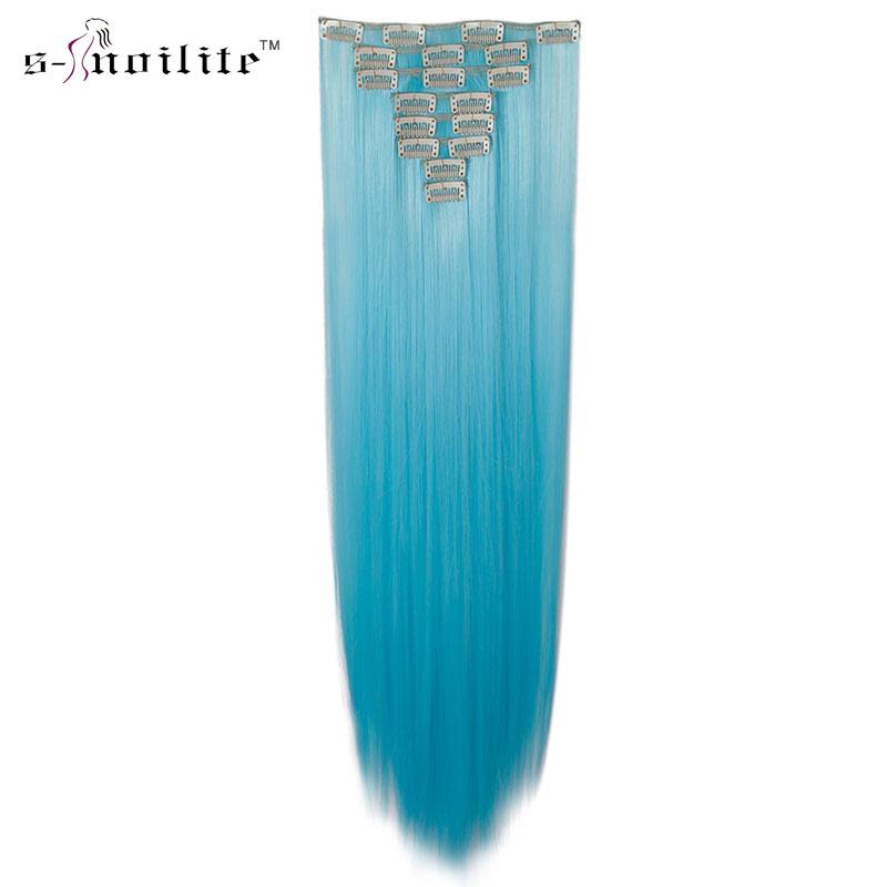 SNOILITE 26 Women Synthetic Long Straight 8PCS Clip in hair Extentions Full Head thick CosaplyHairpiece For Human Pure Colors