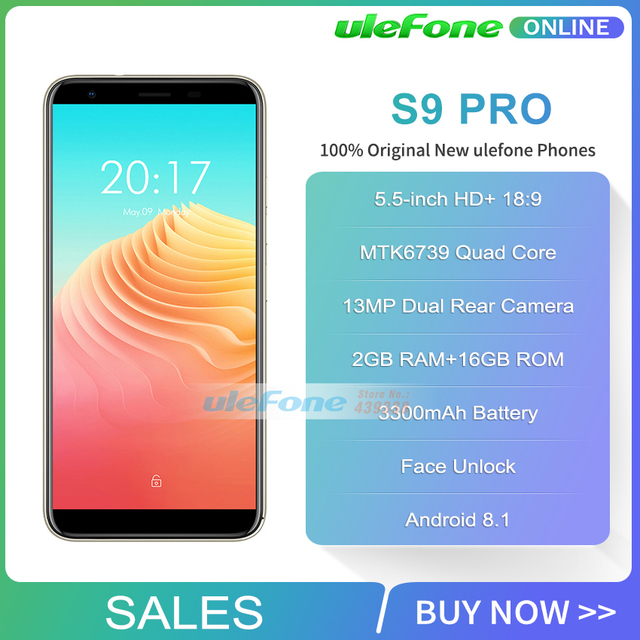 Ulefone S9 Pro Android 8.1 Mobile Phone 5.5 inch HD+ MTK6739 Quad Core 2GB RAM 16GB ROM 13MP+5MP Dual Rear Cameras 4G Smartphone