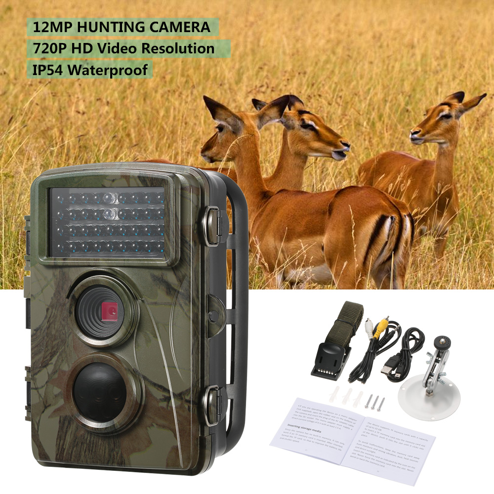 12MP 720P Wild Trail Camera Animal Observation Hunting Camera Waterproof Infrared Night Vision Camera Recorder with Mount&Cable