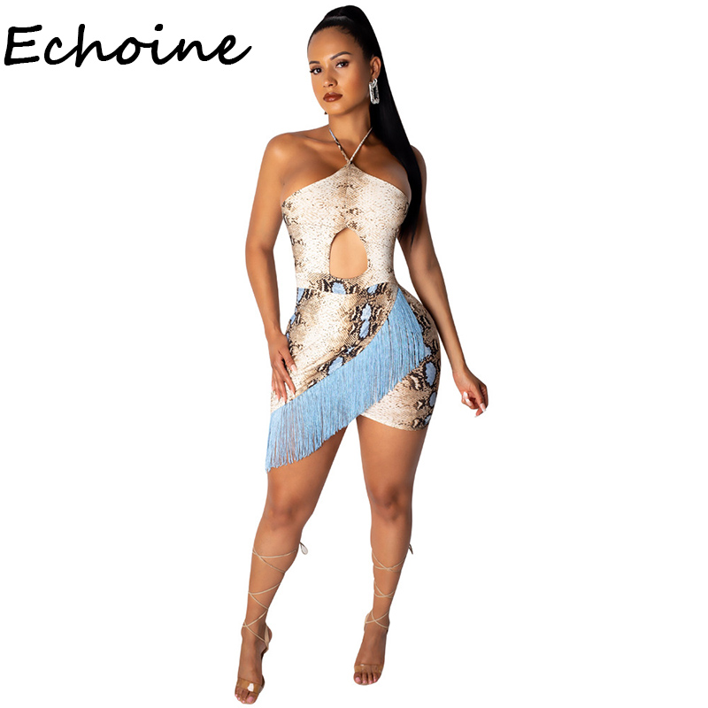 Echoine Snake Print Tassel Spaghetti Straps Women Bodycon Dress Backless Bandage Summer Beach